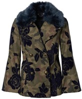 Banana Republic Camo Bell-Sleeve Peacoat with Removeable Faux Fur Collar