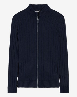 Express Solid Ribbed Full Zip Sweater