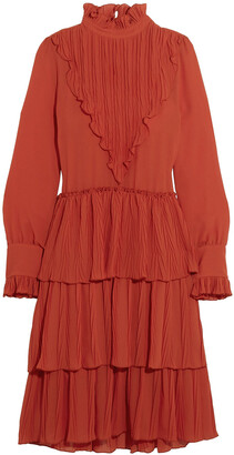 See by Chloe Tiered Plisse-paneled Georgette Dress