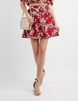 Charlotte Russe Floral Button-Up Skater Skirt