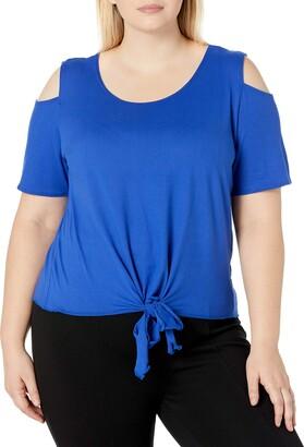 Star Vixen Women's Plus-Size Cold-Shoulder Short SLV Tiefront Brushed Knit Top