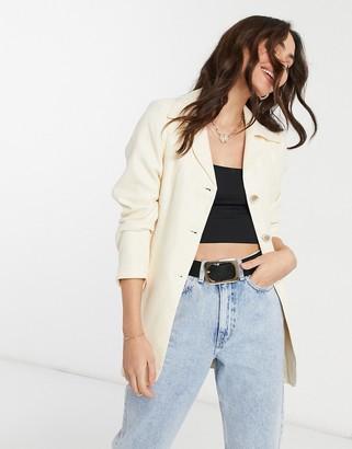 UNIQUE21 belted wool blazer in off white