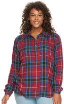 Chaps Plus Size Twill Henley Shirt