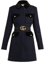Gucci Velvet-trimmed Single-breasted Wool Coat - Womens - Navy Multi