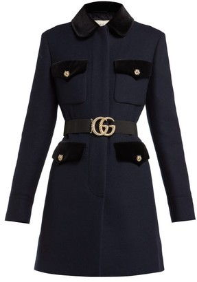 Gucci Velvet Trimmed Single Breasted Wool Coat - Womens - Navy Multi