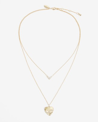 Express Two Row Evil Eye Pendant Necklace