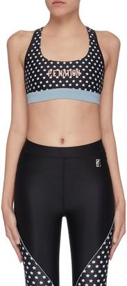 P.E Nation 'Dominion' star print panelled logo performance sports bra