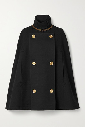 Loewe Chain-embellished Double-breasted Wool Cape - Black