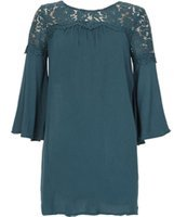 Dorothy Perkins Womens *Blue Vanilla Teal Lace Detail Swing Dress- Teal