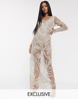 A Star Is Born exclusive embellished maxi dress with bodysuit in taupe