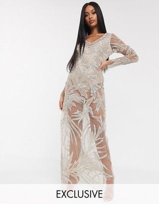 A Star Is Born exclusive embellished maxi dress with bodysuit in taupe-Brown