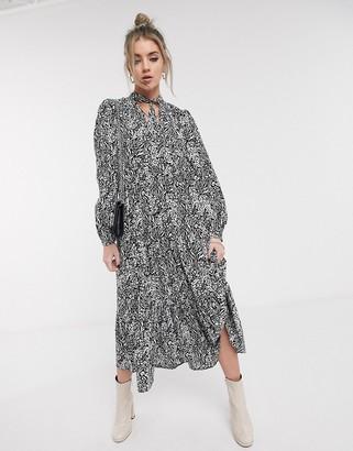 Topshop tiered midi dress in zebra print