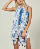 Angele Mode Women's Accent Scarves Navy - White & Navy Blue Abstract Tassel-Fringe Scarf - Women