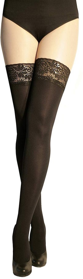 Marilyn Women Luxury 3D Microfibre Opaque Matt Hold Ups Stockings Lace Top 6cm Wide Band Reinforced Toe 100 Denier