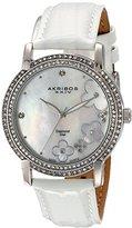 Akribos XXIV Women's AK580SSW Lady Diamond Swiss Quartz Diamond Dial Leather Strap Watch