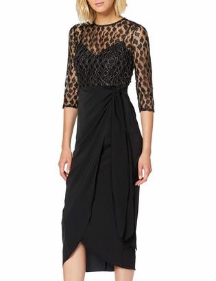 Little Mistress Women's Vivian Black Animal-Lace Midaxi Dress Party 001 8 (Size:8)