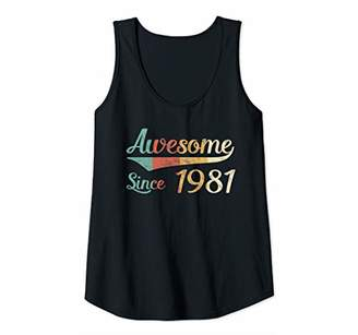 Womens 38th Birthday Gift Shirt 38 Years Awesome Since 1981 Vintage Tank Top
