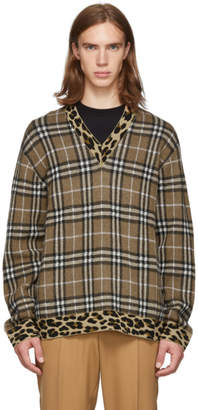 Burberry Brown Knit Check Leopard V-Neck Sweater