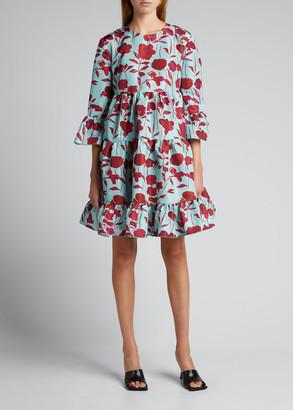 Double J Bambi Floral Trapeze Ruffle Dress