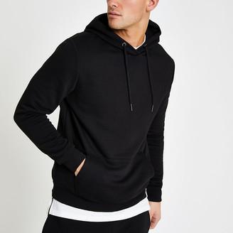 River Island Black slim fit long sleeve hoodie