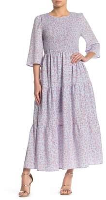 MelloDay Floral Smocked Bodice Maxi Dress