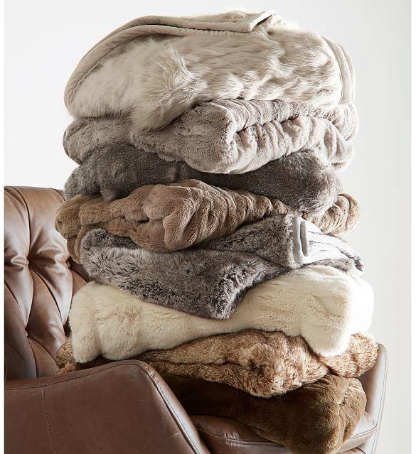 Pottery Barn Faux Fur Throw - Caramel Ombre