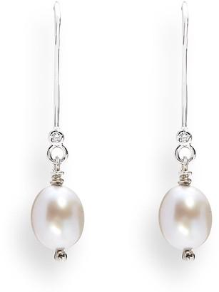 Kaizarin June Birthday White Pearl Drop White Gold Earrings