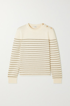 Saint Laurent Button-detailed Metallic Striped Knitted Sweater - Ivory