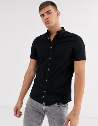 Burton Menswear short sleeve oxford shirt in black