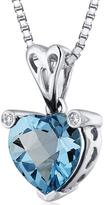 Ice 2 CT TW Topaz and Cubic Zirconia Sterling Silver Heart Pendant Necklace
