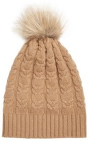 Fabiana Filippi Women's Cable Knit Cashmere Beanie With Genuine Fox Fur Pom - Metallic