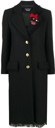 Boutique Moschino Brooche Detail Tweed Coat