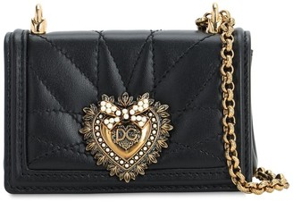 Dolce & Gabbana Nano Devotion Leather Chain Wallet