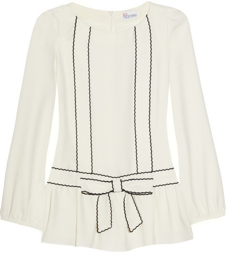 RED Valentino Bow-detailed crepe blouse