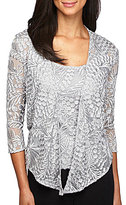 Alex Evenings Petite 3/4-Sleeve Embroidered Twinset