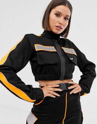 Criminal Damage cropped jacket with reflective panels two-piece