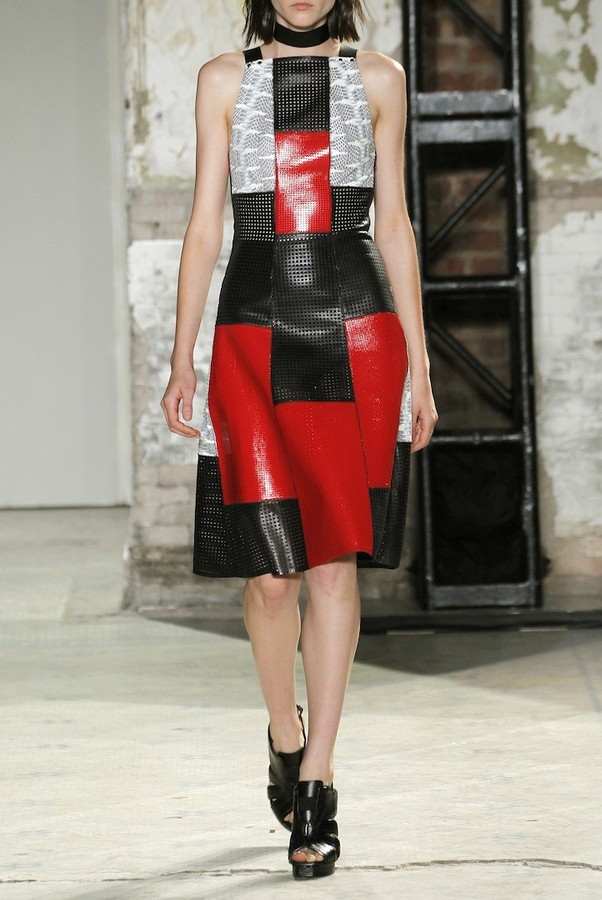 Proenza Schouler Patchwork Whipsnake/Leather Dress