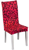 Removable Washable Elastic Stretch Ceremony Home Print Dining Room Seat Chair Covers Protector Slipcovers (Red)