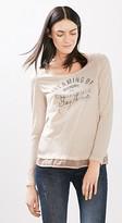 Esprit Washed long sleeve top w a fabric hem
