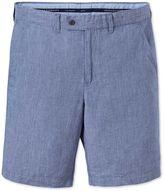 Blue Flat Front Cotton Linen Shorts Size 34