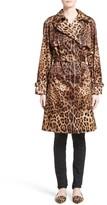 Dolce & Gabbana Women's Leopard Print Silk Trench Coat