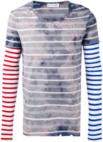 Faith Connexion stained striped destroyed T-shirt - unisex - Cotton - M