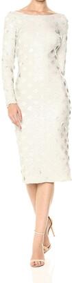 Dress the Population Women's Emery Long Sleeve Stretch Sequin Midi Sheath