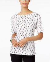 Karen Scott Giraffe-Print Boat-Neck Top, Created for Macy's
