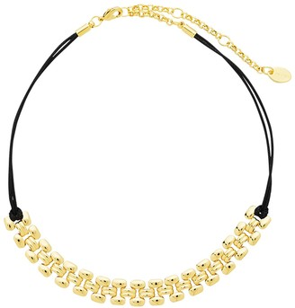 Sterling Forever 14K Yellow Gold Vermeil Link Chain Leather Choker
