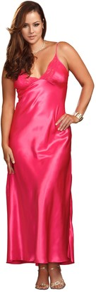 iCollection Women's Plus-Size Long Lace Trimmed Satin Gown