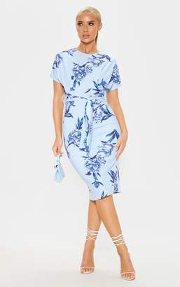 PrettyLittleThing Blue Floral Print Short Sleeve Tie Waist Midi Dress