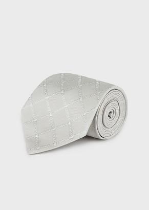 Emporio Armani Pure Silk Scarf With Logo Pattern
