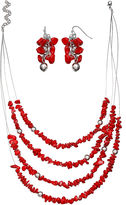 MIXIT Mixit Red 4-Strand Necklace and Earrings Set