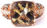 LeVian LE VIAN Smoky Quartz Chocolate and White Diamonds Cocktail 6.32 cttw Ring 14k Rose Gold Size 7